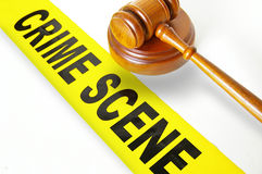 Crime scene tape and gavel Royalty Free Stock Photos