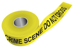 Crime Scene Tape. Inscription on yellow ribbon CRIME SCENE DO NOT CROSS. Vector illustration Royalty Free Stock Image