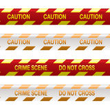 Crime scene tape red. Four strips of crime scene tape in red and yellow with shadow effect Stock Photo
