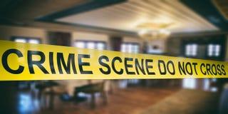 Crime scene. Warning yellow tape, text do not cross, dark blur room background. 3d illustration. Crime scene. Warning yellow tape, text crime scene do not cross stock image