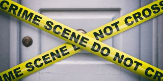 Crime scene. Warning yellow tape, text do not cross, blur entrance door background. 3d illustration royalty free stock photo