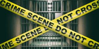 Crime scene. Warning yellow tape, text do not cross, dark blur prison background. 3d illustration royalty free stock images