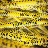 Crime scene yellow caution  tape background. Security concept. Stock Photography