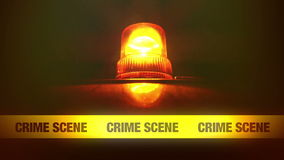 Crime Scene Yellow Headband Tape and Orange flashing and revolving light. Murder Scene Police Ribbon. stock footage