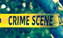 Crime scene yellow police tape closeup royalty free stock image
