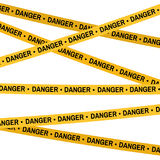 Crime scene yellow tape, police line Do Not Cross Danger tape. Cartoon flat-style. Vector illustration. White background. Crime scene yellow tape, police line Do Royalty Free Stock Photography