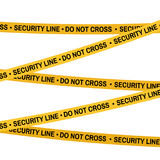 Crime scene yellow tape, police line Do Not Cross Security tape. Cartoon flat-style. Vector illustration. White. Crime scene yellow tape, police line Do Not Royalty Free Stock Image