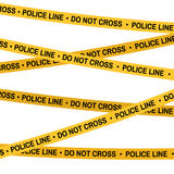 Crime scene yellow tape, police line Do Not Cross tape. Cartoon flat-style illustration Stock Photo
