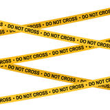 Crime scene yellow tape, police line Do Not Cross tape. Cartoon flat-style illustration. Crime scene yellow tape, police line Do Not Cross tape. Cartoon flat Royalty Free Stock Photos