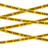 Crime scene yellow tape, police line Do Not Cross tape. Cartoon flat-style illustration. White background. Royalty Free Stock Photography