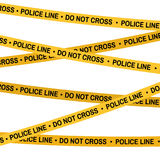 Crime scene yellow tape, police line Do Not Cross tape. Cartoon flat-style. Crime scene yellow tape, police line Do Not Cross tape. Cartoon flat-style. Vector Stock Photo