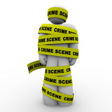 Crime Scene Yellow Tape Suspect Wrapped Detained Arrested vector illustration
