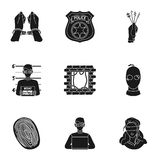 Crime set icons in black style. Big collection of crime vector symbol stock illustration Royalty Free Stock Photos