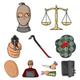 Crime set icons in cartoon style. Big collection of crime vector symbol stock illustration. Crime set icons in cartoon style. Big collection of crime vector Royalty Free Stock Photos