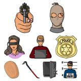 Crime set icons in cartoon style. Big collection of crime vector symbol stock illustration. Crime set icons in cartoon style. Big collection of crime vector Stock Images