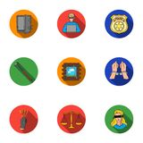 Crime set icons in flat style. Big collection of crime vector symbol stock illustration Royalty Free Stock Photo
