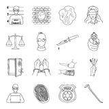 Crime set icons in outline style. Big collection of crime vector symbol stock illustration Royalty Free Stock Photo