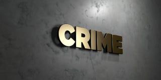 Crime - signe d'or monté sur le mur de marbre brillant - illustration courante gratuite de redevance rendue par 3D Photo stock
