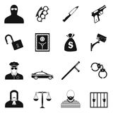 Crime simple icons Royalty Free Stock Images