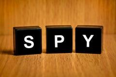 Crime spy word on black block Stock Photos
