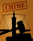 Crime text with gavel and scales. Court gavel and scales of justice silhouette with Crime text royalty free stock photography