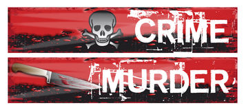 Crime Themed Banners. Two horizontal crime themed banners set on a bloody red grunge styled background base. Crime and murder Royalty Free Stock Images