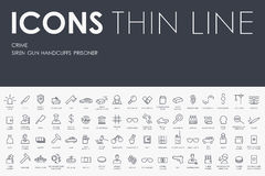 Crime Thin Line Icons Stock Images