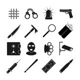 Crime vector icons set Stock Photo