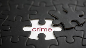 Crime. Word crime under jigsaw puzzle piece Royalty Free Stock Photography