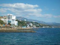 Crimea, Alushta. The sea, the mountains, the promenade. stock photos
