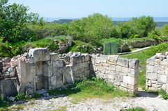 Crimea, Bakhchisaray, cave city Chufut Kale. The ruins of ancient mosque Stock Photography