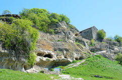 Crimea, Bakhchisaray, cave city Chufut Kale in the spring Stock Photography