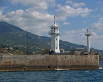 Crimea. Beacon in Yalta port Royalty Free Stock Images