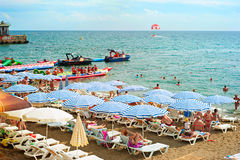 Crimea Black sea beach Stock Photo