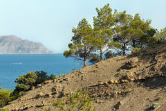 Crimea. Black sea landscape. Southern coast of Crimea. View of the Bay in the area of Sudak Royalty Free Stock Photos