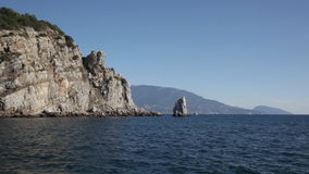 Crimea, Black Sea and Parus Rock stock video