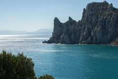Summer in Crimea. Rock and sea. royalty free stock photos