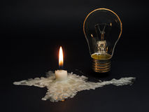 Crimea blackout. Crimea without power supply from Ukraine.A candle melted In the shape of Crimea symbolizes the disconnection of the peninsula from electricity Stock Images