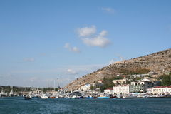 Crimea. Boats in Balaklava harbor. Royalty Free Stock Photos