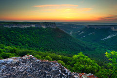 Crimea canyon at sunset time Stock Photography