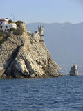 Crimea. Cape Ai -Todor. Castle Swallow's Nest at Aurora cliff high above the sea. Stock Images