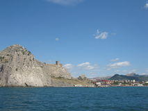Crimea, castle in Sudak. Royalty Free Stock Images