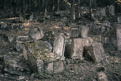 Crimea - Cemetery of Karaites. Ancient cemetery of karaites in the mountains of Crimea Stock Photography