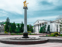 Crimea, the central square of the city of Kerch. Theatre of Dram. A. Sculpture by Griffin on the pedestal Royalty Free Stock Images