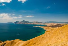 Crimea coast summer vacation sea blue landscape. Sun day nature Stock Photography