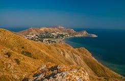 Crimea coast summer vacation sea blue landscape. Sun day nature Stock Photos