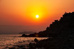 Crimea coast summer vacation sea sunset landscape. Sun background Royalty Free Stock Photography