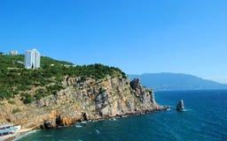 crimea De Zwarte Zee en rotsen stock foto's