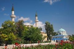 Juma-Jami Mosque and Cathedral of St. Nicholas. Crimea. Evpatoria, Juma-Jami Mosque Jami Khan Devlet Giray Khan founded in 1552 and Cathedral of St. Nicholas stock images