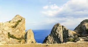 Crimea, extinct volcano Kara-Dag mountain reserve Royalty Free Stock Photography